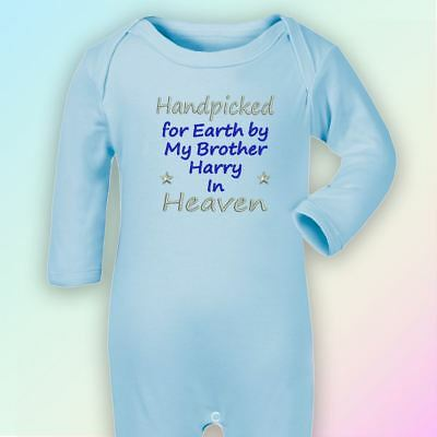 Handpicked for Earth Brother Embroidered Baby Romper Babygrow Gift Heaven