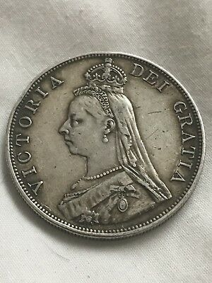 1887 Double Florin Four Shilling Victoria British .925 Silver Coin
