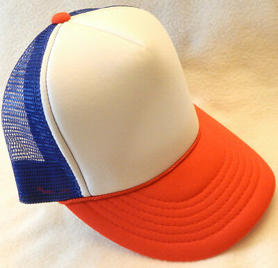 RED WHITE & BLUE 1980's TRUCKER HAT snapback cap 80s stranger things dustin