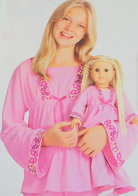 AMERICAN GIRL JULIE RETIRED PAJAMAS for GIRL and DOLL (SIZE M - 10/12) -  NIP