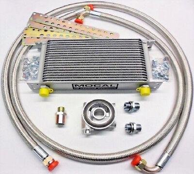 Subaru Impreza Turbo Mocal Oil Cooler Kit - Stainless Braided Hose & 80 Deg Stat