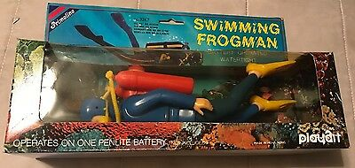 Vintage Playart Swimming Frogman Battery Operated Watertight Figure *NEW*