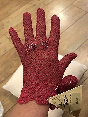 Vintage Original hand Crochet maroon Cotton Gloves