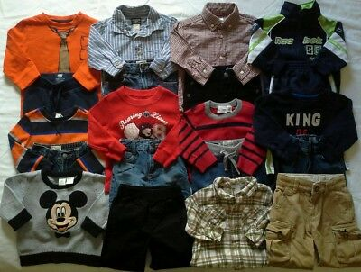 Boys 12/18 months Fall winter clothes outfits shirts pants jeans clothing lot!
