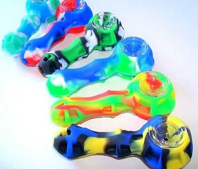 "4"" Silicone Tobacco Pipe With Glass Bowl + Tool & Stash Container"
