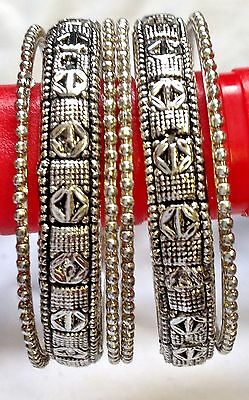 set of  6  silver tone indian  bangles *new latest design*
