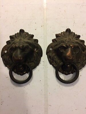 Seth Thomas Adamantine Mantle Clock Antique Cast Metal Lion Head Decorations