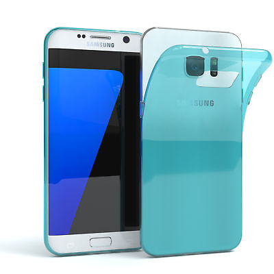 Ultra Slim Cover für Galaxy S7 Edge Case Silikon Hülle Transparent Hellblau