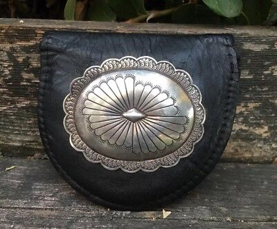 Vintage Navajo Black Leather Pouch W/sterling Concho Old Pawn Hand Stamped