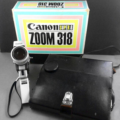 Canon Zoom 318 Super 8 Cine Camera w/10-30mm f/1.8 lens Grip & Case in Box