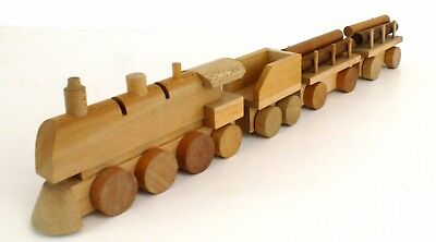 FORMAN plane wood locomotive 0.6.2. + 1 coal wagon and 2 x lumber plattform car