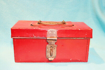 Vintage Metal Box With Latch - Red