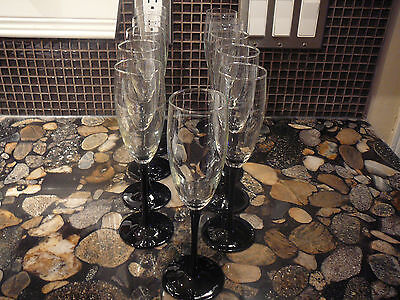 11 LUMINARC ARCOROC FRANCE BLACK STEM CRYSTAL CHAMPAGNE FLUTES GLASSES 6 oz