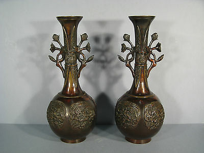 Pair Of Vases Bronze Style Far East/ Vase Antique Bronze Far East