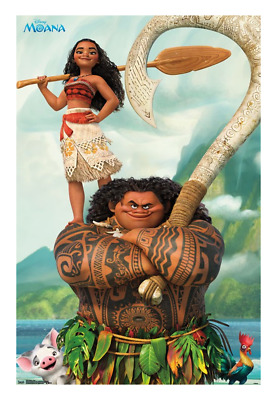 Moana Pose Poster 24x36 Dwayne The Rock Johnson Waialiki Disney Cartoon Movie