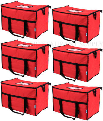 6 PACK Insulated RED Nylon Hot Cold Catering Delivery Food Carrier Bag Cooler