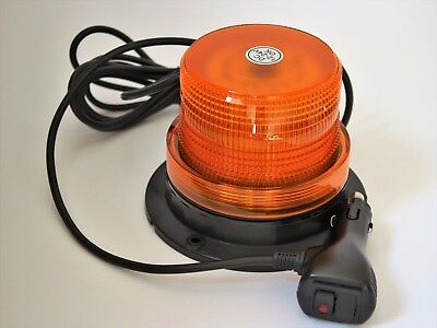 12-24V LED Beacon Amber Magnetic- Safety Tractor Light - 8 FLASH SETTINGS !!