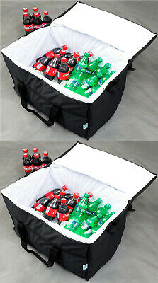 Insulated BLACK Nylon Hot Cold Catering Delivery Food Carrier Bag Drink Cooler