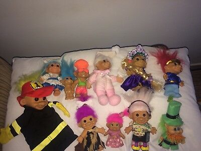 A Beautiful Job Lot Of 11 Different Vintage Trolls  7 X Russ And 5 Others.