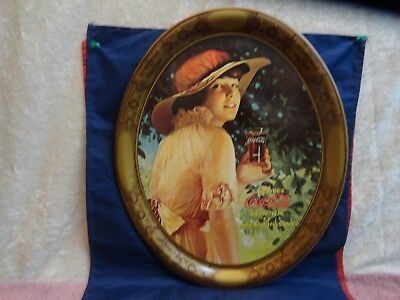 French Coca-Cola Tin Litho Advertising Serving Tray Exhibition Girl Coke Tray