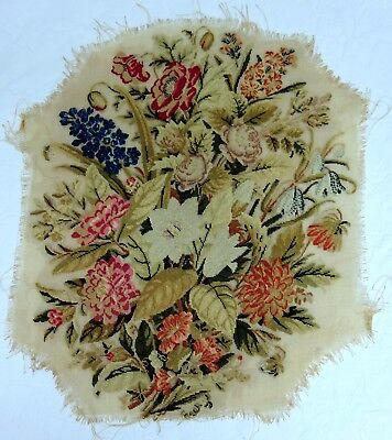 Pretty Floral Bouquet Needlepoint Tapestry Antique Vintage Victorian