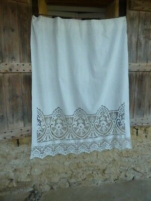 Beautiful Antique French White Cotton Curtain Panel With Cornelli Lace Border