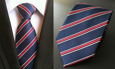 Navy Blue and Red Striped Patterned Handmade 100% Silk Tie