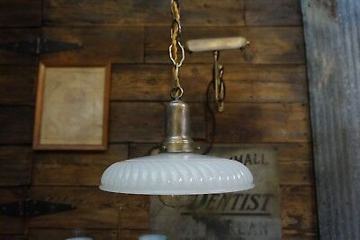 Brass Pendant Light Fixture with Pleated Opalescent Antique Frosted Shade