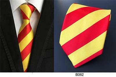 Red Yellow Tie Stripe Pattern Handmade 100% Silk Wedding Club Necktie 8cm Width