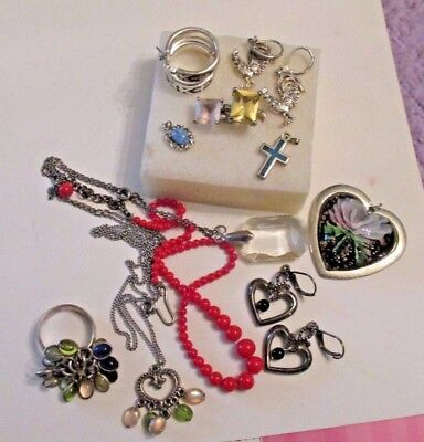 Vintage Jewelry Lot Glass Some Sterling Silver Necklace Earrings Rings Pendants