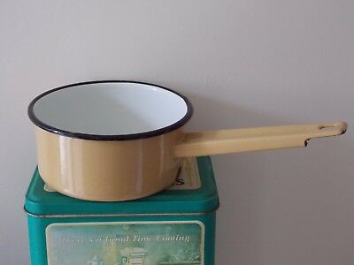 Vintage Old Heavy French Enamel Saucepan With Handle - Cream with Navy Blue Rim