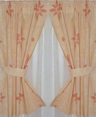 "SMALL CURTAINS 21""w x 25"" Cream Rust +Ties NEW Cottage Boat Hut Horsebox Kitchen"