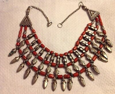 Antique Vintage White Metal And Coral Ethnic Tribal Yemen Necklace