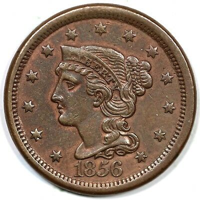 "1856 N-17 R2+ ""Slanted 5"" Braided Hair Large Cent Coin 1c"