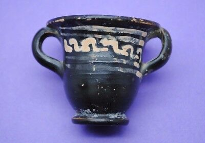 Nice ancient Greek decorated black ware pot with two handles 4th century BC