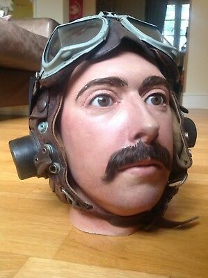 Original Early Ww2 Raf C Type Leather Flying Helmet And Goggles