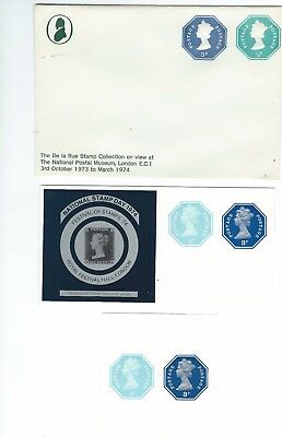 GREAT BRITAIN Pre-PAID DECIMAL POSTAL STATIONERY ONE ENVELOPE AND TWO LABELS.