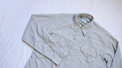 Columbia Trekking Outdoor Shirt Mens Long Sleeve Top Size S Small Grey Tan NYLON