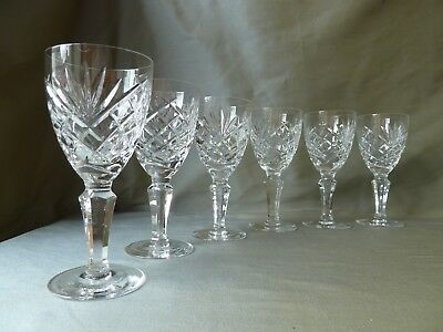 Galway Crystal Ashford Cut White Wine Glasses x6, Signed, h 15,3cm