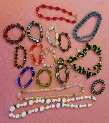 16 LOT Variety Ladies Jewelry Beaded Glass stone Resin Beads Necklace Bracelet