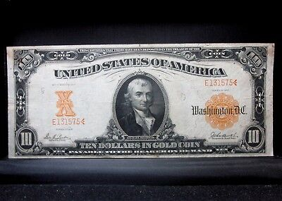 1907 $10 Gold Certificate ✪ Vf Very Fine ✪ L@@k Now 575 Low Serial ◢Trusted◣