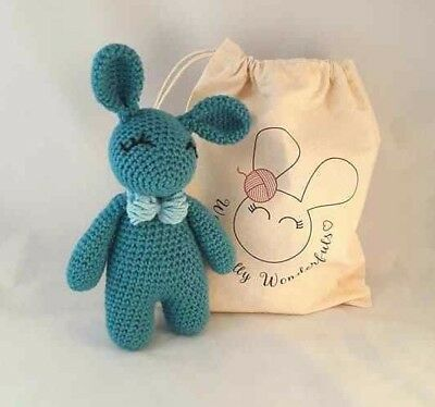 Crochet Kit - Bunny Rabbit Luxury Sea Blue Alpaca Crochet Kit Learn to crochet