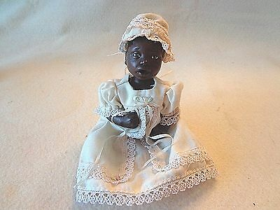 """DADDY'S BABY DOLL IN BEIGE GOWN w/ CROCHET TRIM,BLACK AMERICANA,POSABLE,5"""" Tall"""