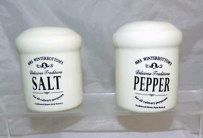 Mrs Winterbottom's Delicious Traditional Salt & Pepper Set with a White Glaze
