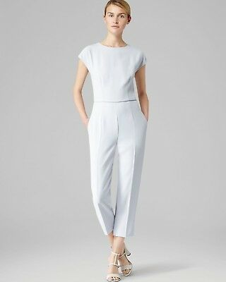 Reiss Rico Jumpsuit Play suit White Grey Wedding Formal Evening wear 10