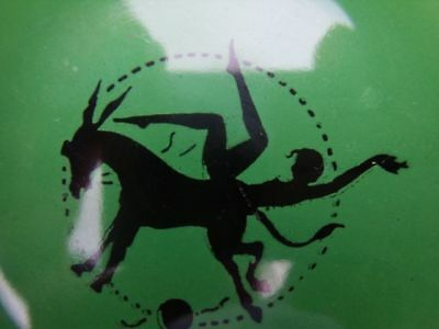 Flapper party girl on donkey glass Trinket Dish~Art Deco at its Best!