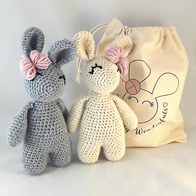 Crochet Kit - Twin Bunny Rabbit Luxury Alpaca  - Learn  to crochet beginners