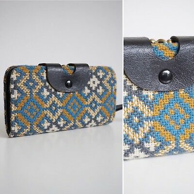 MOD vtg 1960s BLUE MUSTARD WOOL CHECK WELSH TAPESTRY LARGE PURSE