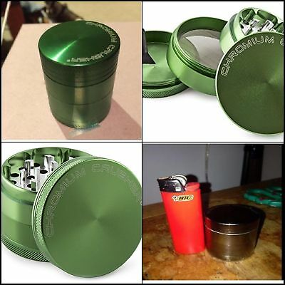 Green Herb Grinder Spice Space Case Top Magnetic Tobacco Multi Heavy Duty 4 PC