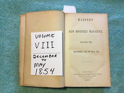 ANTIQUE Harpers Monthly Magazine VOL. Vlll 1853 BOUND BOOK 1/2 LEATHER Whaling